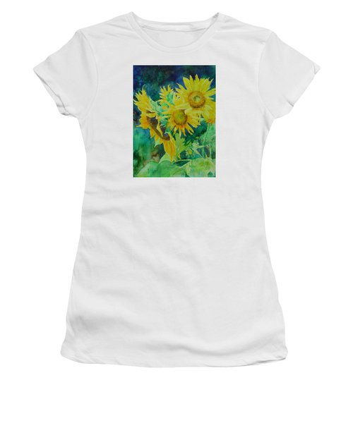 Colorful Original Sunflowers Flower Garden Art Artist K. Joann Russell Women's T-Shirt (Athletic Fit)