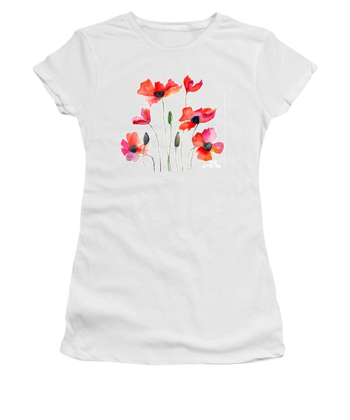 Colorful Red Flowers Women's T-Shirt (Athletic Fit)