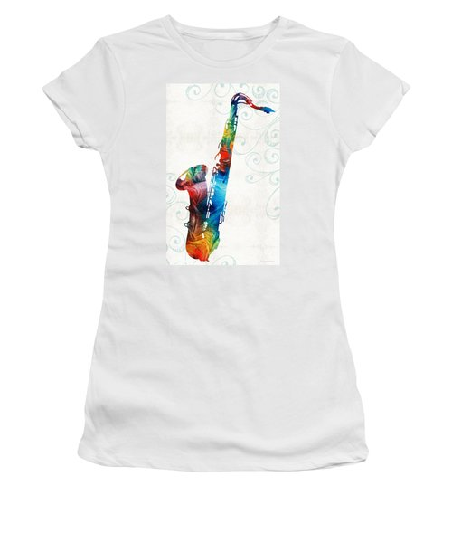 Colorful Saxophone 3 By Sharon Cummings Women's T-Shirt
