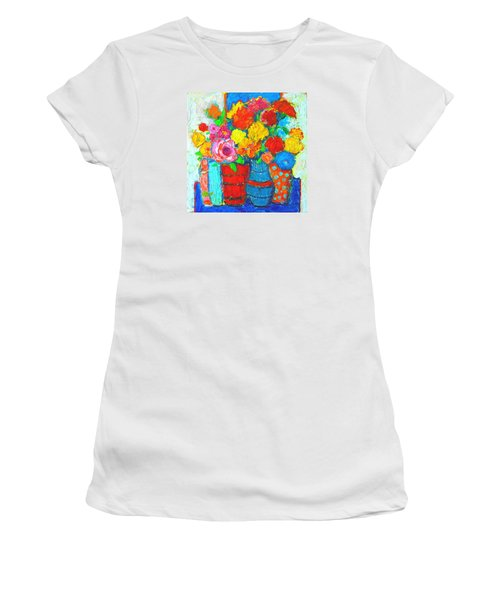 Colorful Vases And Flowers - Abstract Expressionist Painting Women's T-Shirt (Athletic Fit)