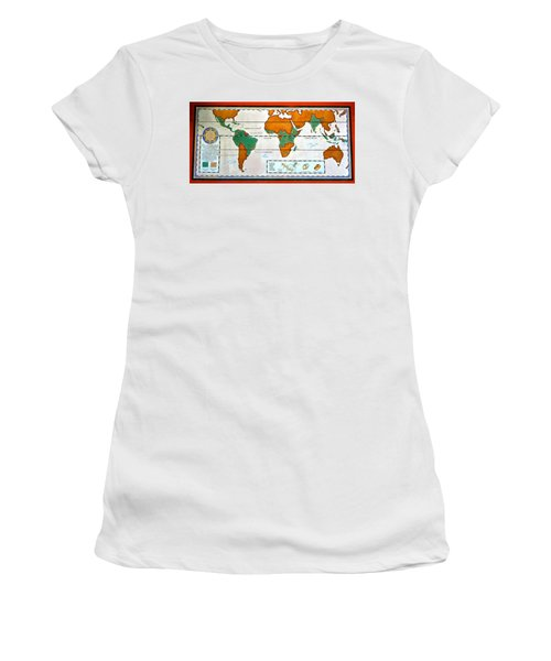 Colorful World Map Of Coffee Women's T-Shirt (Athletic Fit)