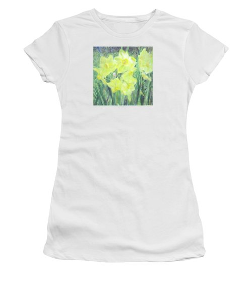 Colorful  Yellow Flowers Women's T-Shirt (Athletic Fit)
