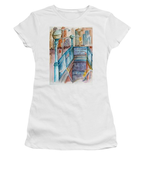 Columbus Circle Subway Stop Women's T-Shirt (Athletic Fit)