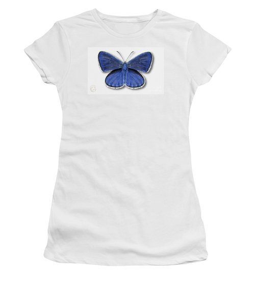 Common Blue Butterfly - Polyommatus Icarus Butterfly Naturalistic Painting - Nettersheim Eifel Women's T-Shirt