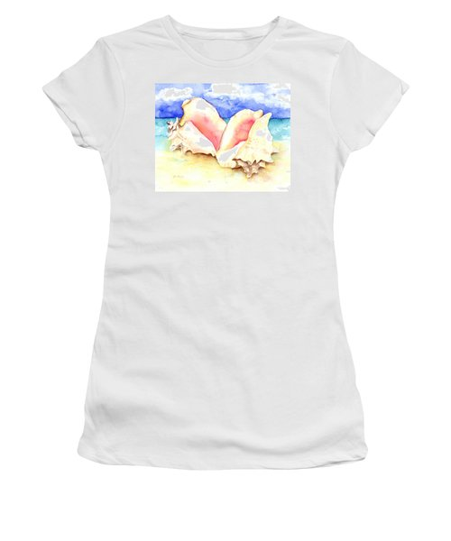 Conch Shells On Beach Women's T-Shirt (Athletic Fit)