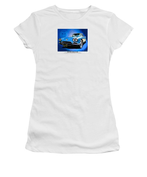 Cool Corvette Women's T-Shirt (Junior Cut) by Kenneth De Tore