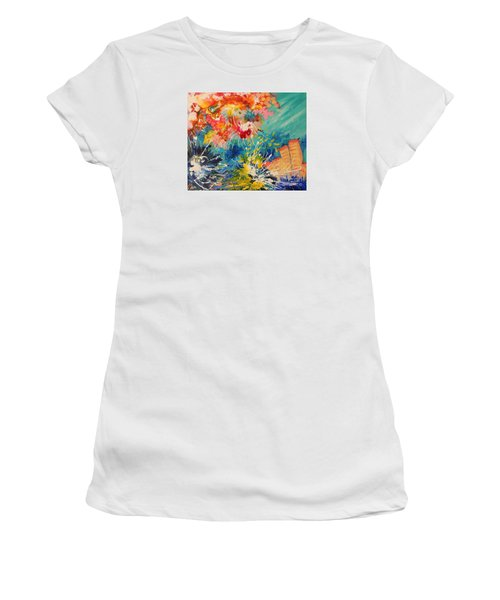 Women's T-Shirt (Junior Cut) featuring the painting Coral Madness by Lyn Olsen