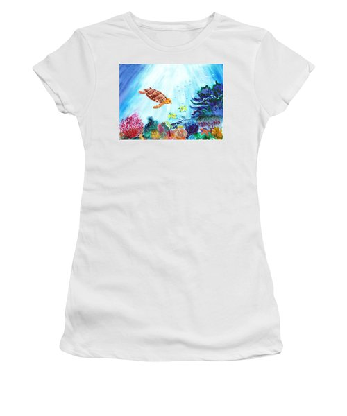 Women's T-Shirt (Junior Cut) featuring the painting Coral Reef by Donna Walsh