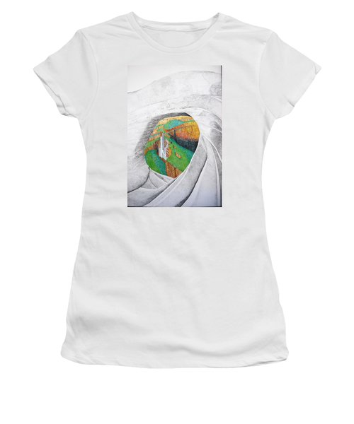 Women's T-Shirt (Junior Cut) featuring the painting Cornered Stones by A  Robert Malcom