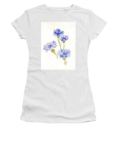 Women's T-Shirt (Junior Cut) featuring the painting Cornflowers by Stephanie Grant