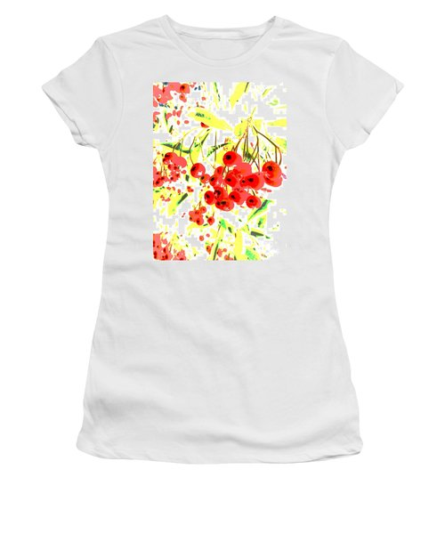 Women's T-Shirt (Junior Cut) featuring the photograph Cotoneaster by Barbara Moignard