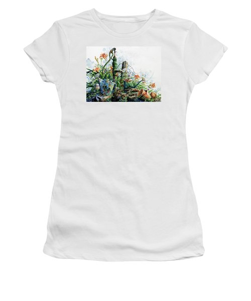 Women's T-Shirt (Athletic Fit) featuring the painting Country Charm by Hanne Lore Koehler