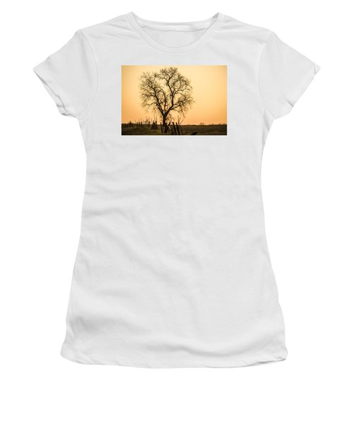 Country Fence Sunset Women's T-Shirt (Athletic Fit)