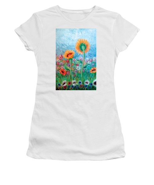 Courting Sunflowers Women's T-Shirt (Athletic Fit)