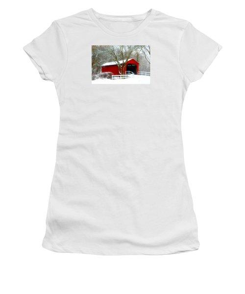 Cover Bridge Beauty Women's T-Shirt (Junior Cut) by Peggy Franz