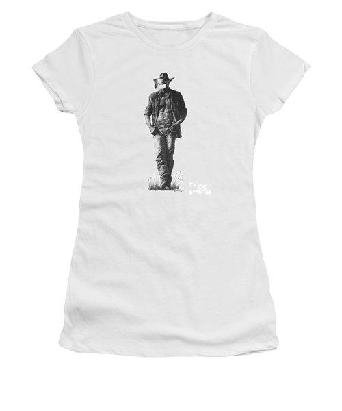 Women's T-Shirt (Junior Cut) featuring the drawing Cowboy by Marianne NANA Betts