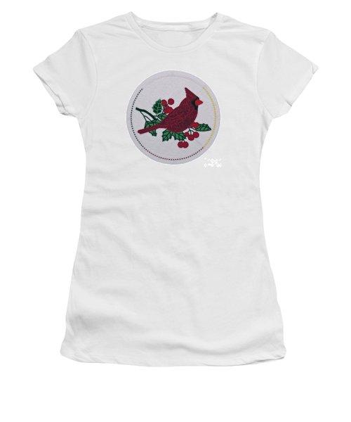 Cradleboard Beadwork Winter Cardinal Women's T-Shirt