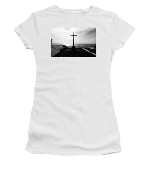 Cross Atop Old Chapel In Village  Women's T-Shirt (Athletic Fit)