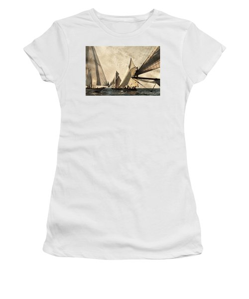 A Vintage Processed Image Of A Sail Race In Port Mahon Menorca - Crowded Sea Women's T-Shirt (Athletic Fit)