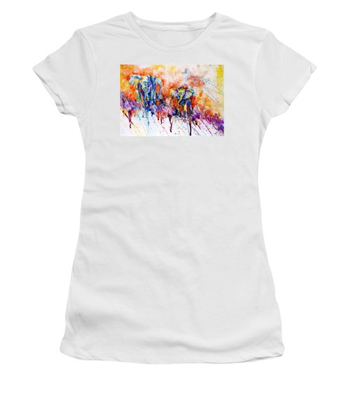 Curious Baby Elephant Women's T-Shirt (Junior Cut) by Zaira Dzhaubaeva