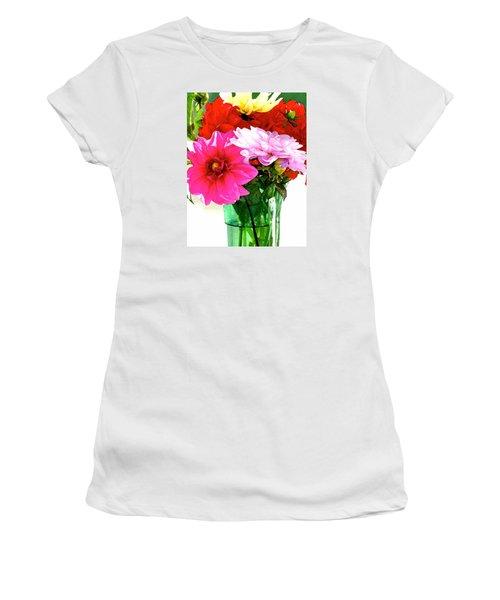 Women's T-Shirt (Junior Cut) featuring the photograph Dahlias In The Sun by Lehua Pekelo-Stearns