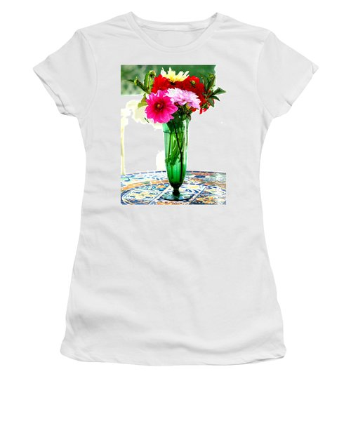 Dahlias On A Table In The Sun Women's T-Shirt (Athletic Fit)