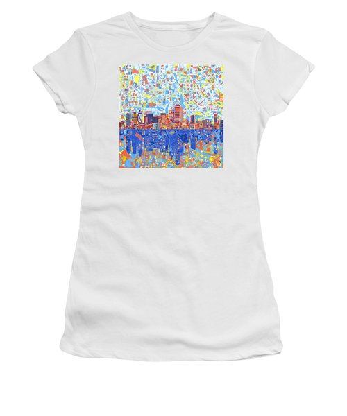 Dallas Skyline Abstract 5 Women's T-Shirt (Athletic Fit)