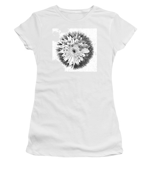 Women's T-Shirt (Athletic Fit) featuring the digital art Dandylion Black On White by Clayton Bruster