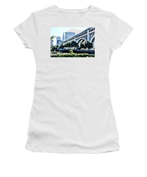 Women's T-Shirt featuring the photograph Detroit-superior Bridge - Cleveland Ohio - 1 by Mark Madere