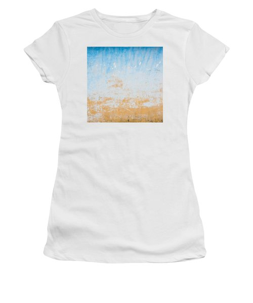 Dilapidated Beige And Blue Wall Texture Women's T-Shirt (Athletic Fit)