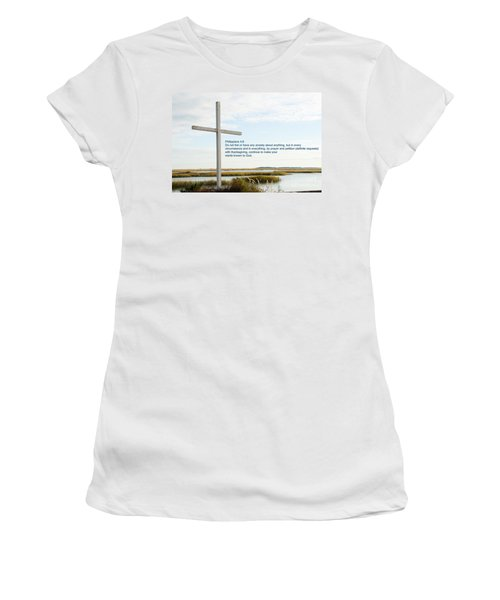 Belin Church Cross At Murrells Inlet With Bible Verse Women's T-Shirt (Athletic Fit)