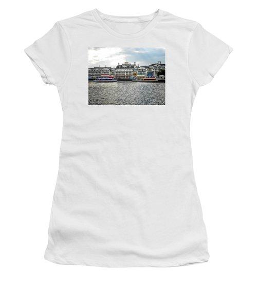 Docking At The Boardwalk Walt Disney World Women's T-Shirt (Junior Cut) by Thomas Woolworth