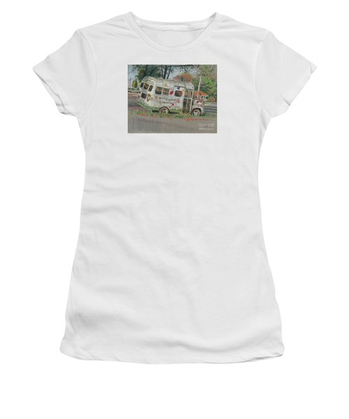 Women's T-Shirt (Junior Cut) featuring the painting Doodlebugs Bus by Donald Maier