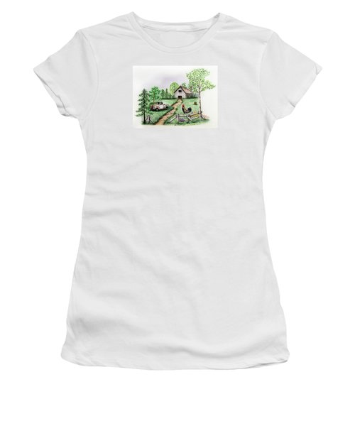 Down On The Farm Women's T-Shirt (Athletic Fit)