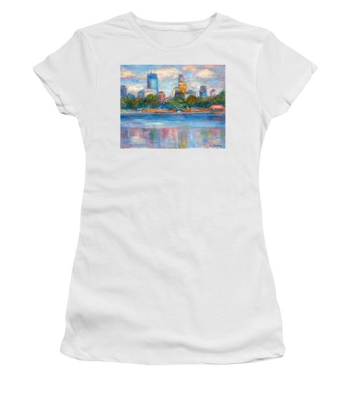 Downtown Minneapolis Skyline From Lake Calhoun II - Or Commission Your City Painting Women's T-Shirt (Athletic Fit)