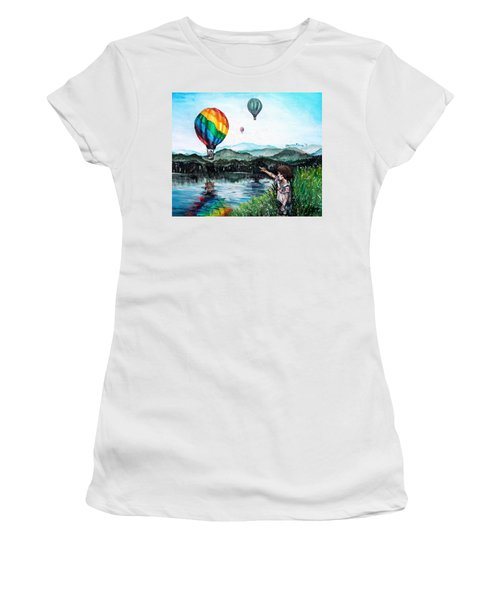 Women's T-Shirt (Junior Cut) featuring the painting Dreams Do Come True by Shana Rowe Jackson