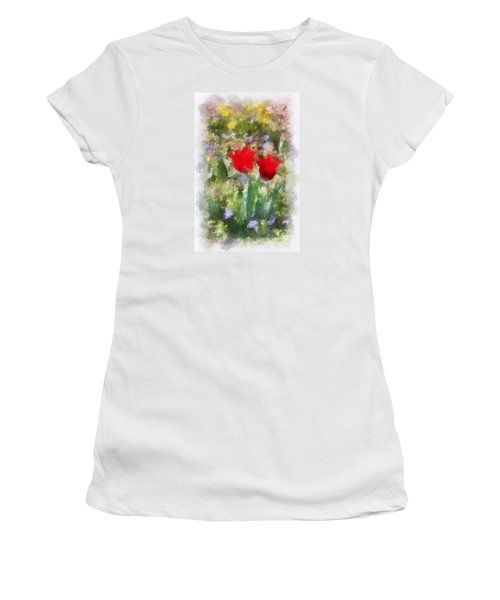 Women's T-Shirt (Junior Cut) featuring the painting Dressed In Red  by Kerri Farley