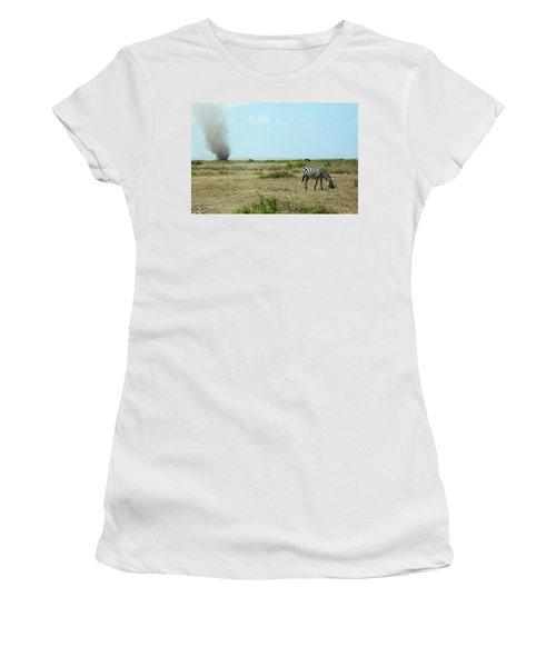 Dust Devil And Grazing Zebra Women's T-Shirt