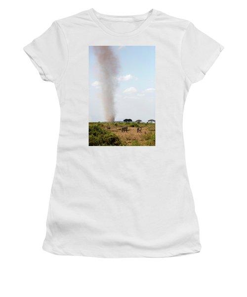 Dust Devil And Grazing Zebras Women's T-Shirt