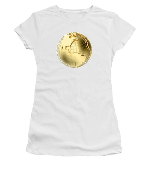 Earth In Gold Metal Isolated On White Women's T-Shirt (Athletic Fit)