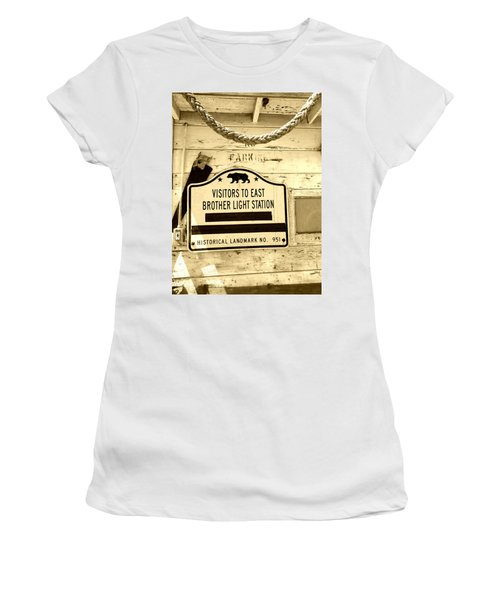 East Brother Light Station Visitor Sign Women's T-Shirt (Athletic Fit)