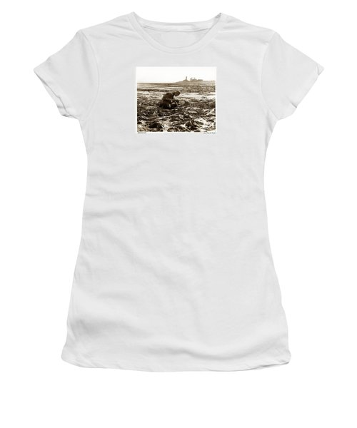 Ed Ricketts At Point Wilson Lighthouse In Port Townsend Wa 1930 Women's T-Shirt (Junior Cut) by California Views Mr Pat Hathaway Archives