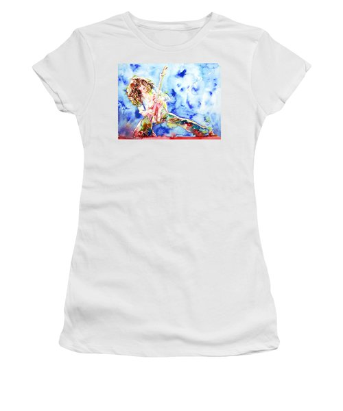 Eddie Van Halen Playing The Guitar.1 Watercolor Portrait Women's T-Shirt (Athletic Fit)