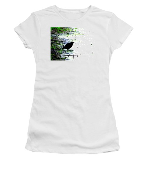Edgar Allan Poe's Raven On The Edge Of Oblivion By Ron Tackett Women's T-Shirt (Athletic Fit)
