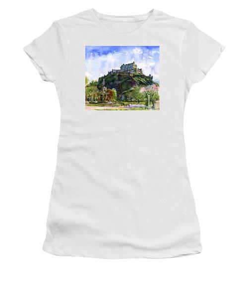 Edinburgh Castle Scotland Women's T-Shirt (Junior Cut) by John D Benson