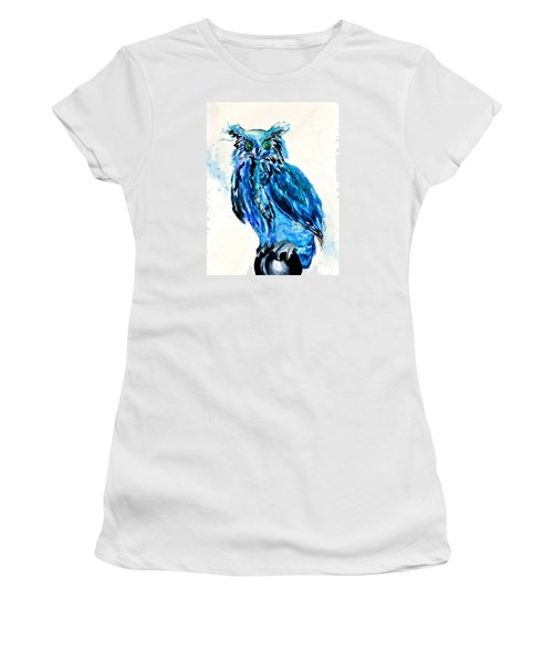 Electric Blue Owl Women's T-Shirt (Junior Cut) by Beverley Harper Tinsley