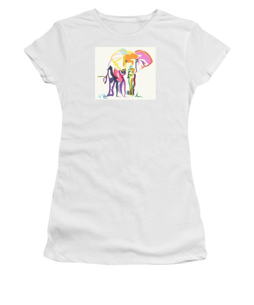 Elephant In Color Ecru Women's T-Shirt (Junior Cut) by Go Van Kampen