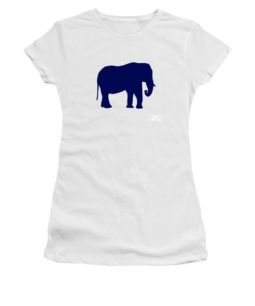 Elephant In Navy And White Women's T-Shirt (Athletic Fit)