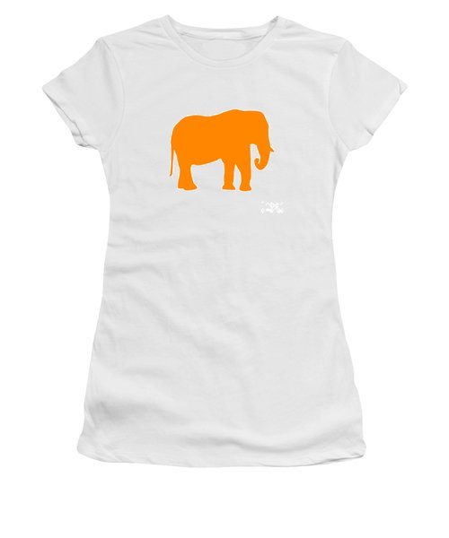Elephant In Orange And White Women's T-Shirt (Athletic Fit)