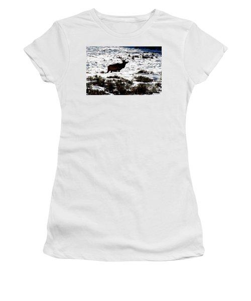 Women's T-Shirt (Junior Cut) featuring the photograph Elk Silhouette by Sharon Elliott